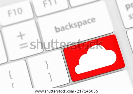 Cloud computing concept on computer keyboard with white keys. - stock photo