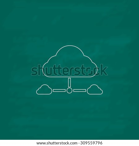 Cloud computing concept. Outline icon. Imitation draw with white chalk on green chalkboard. Flat Pictogram and School board background. Illustration symbol - stock photo
