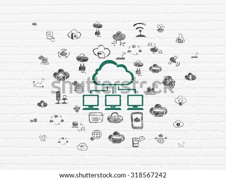 Cloud computing concept: Painted green Cloud Network icon on White Brick wall background with  Hand Drawn Cloud Technology Icons