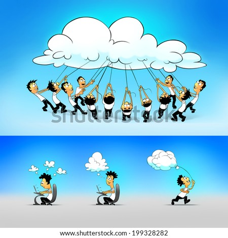 Cloud computing concept. People working and connected through the cloud. - stock photo