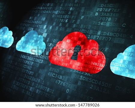 Cloud computing concept: pixelated Cloud With Keyhole icon on digital background, 3d render - stock photo