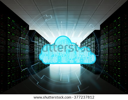 Cloud computing concept represented by a server room, with a cloud representation hologram concept. - stock photo