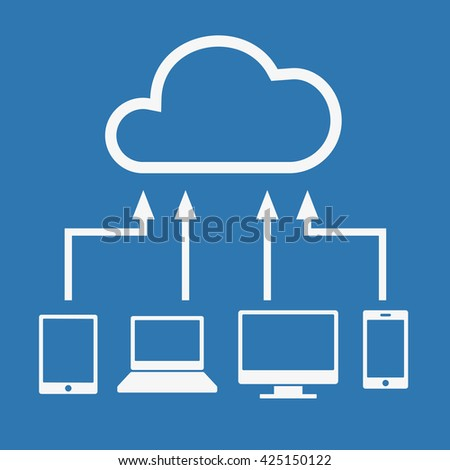 Cloud computing concept. Various devices like Smartphone, Tablet Computer PC Laptop are connected to Cloud. illustration