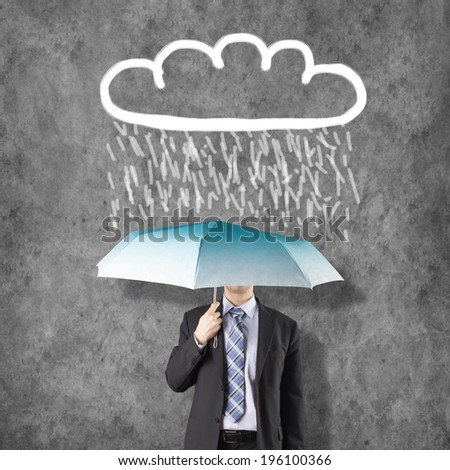 Cloud Computing Concept with Businessman and umbrella - stock photo