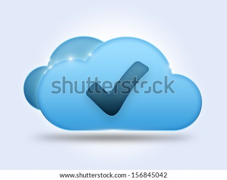 Cloud computing concept with check mark - stock photo