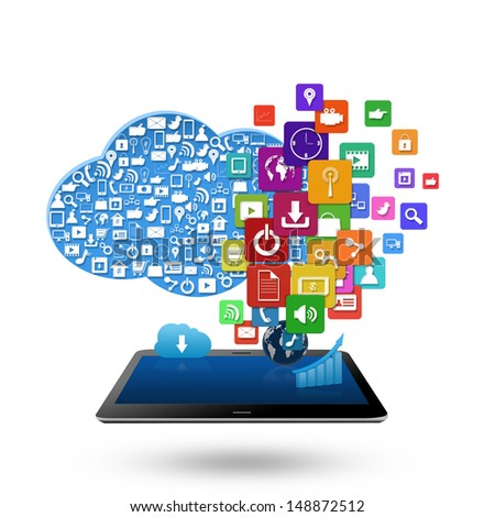 Cloud computing concept, With colorful application icon business - stock photo