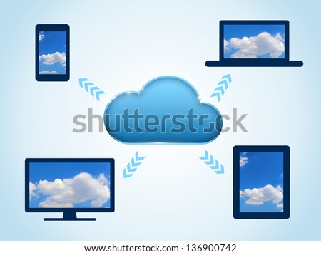 Cloud computing concept with connected devices - stock photo