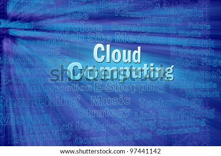 Cloud computing concept with internet related words - stock photo