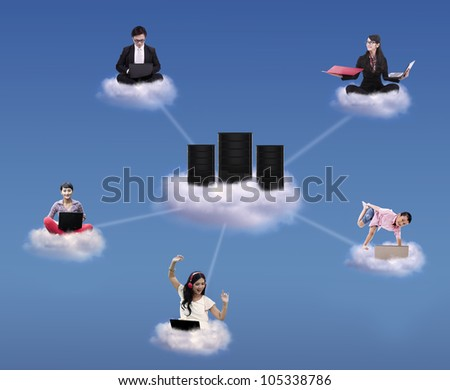 Cloud computing concept with people working and playing on cloud and around computer servers