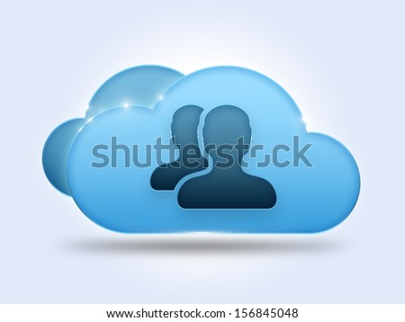 Cloud computing concept with two users icon