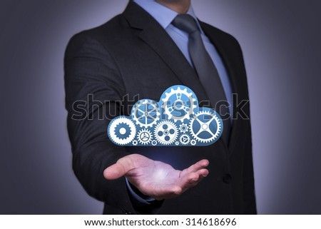 Cloud Computing Concepts Touching on Visual Screen - stock photo