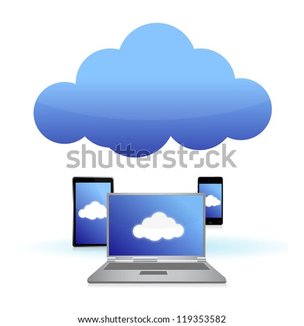 cloud computing connected to technology illustration design over white - stock photo