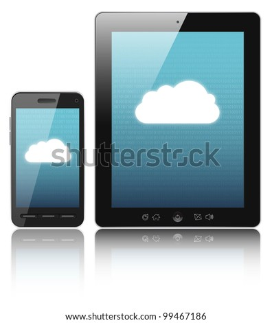 Cloud-computing connection on digital tablet pc and modern smart phone - stock photo