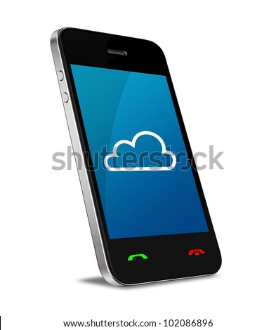 Cloud computing connection on modern mobile smart phone. Isolated on white.