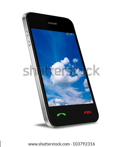 Cloud computing connection on modern mobile smart phone. Isolated on white. - stock photo