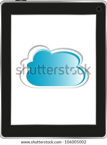 Cloud computing connection on the digital tablet pc. Isolated on white. Raster - stock photo