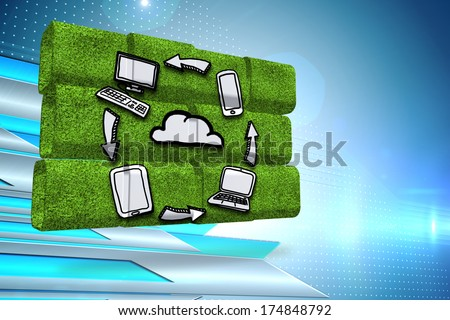 Cloud computing cycle on abstract screen against arrows on technical background