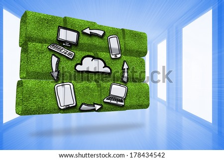 Cloud computing cycle on abstract screen against bright blue hall with windows