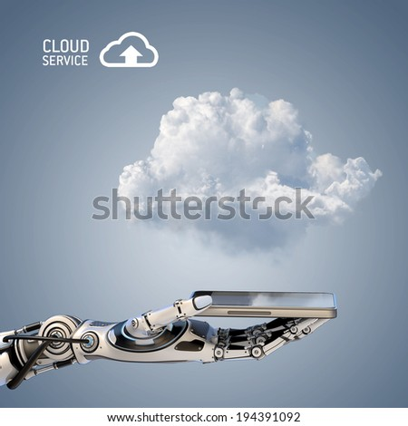 Cloud computing design concept. Cybernetic robot arm holding smartphone with copy space - stock photo
