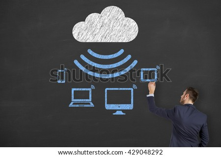 Cloud Computing Drawing on Blackboard Background - stock photo