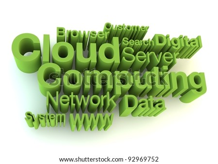 Cloud computing green letters - stock photo