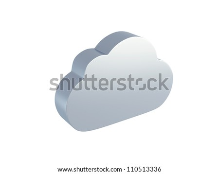Cloud computing icon isolated on white background - stock photo