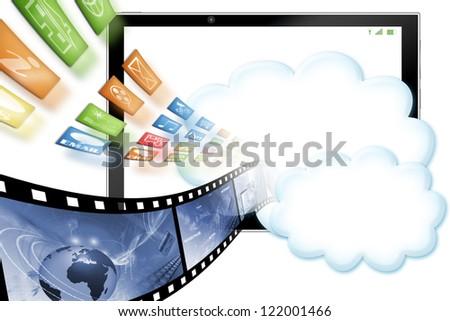 Cloud computing illustration isolated on white - stock photo