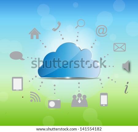 Cloud computing  illustration on nature background.  illustration. - stock photo