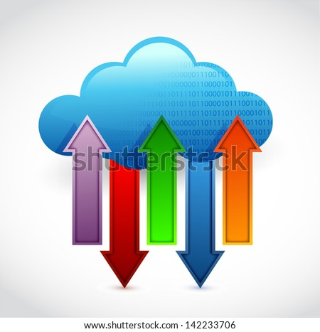 cloud computing information transferring illustration design over white