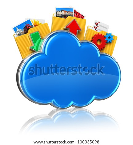 Cloud computing internet concept: blue glossy cloud icon and folders with colorful pictures isolated on white background with reflection effect
