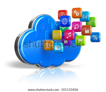Cloud computing internet concept: blue glossy cloud with cloud of colorful application icons isolated on white background with reflection effect - stock photo