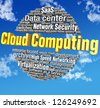 Cloud computing IT technical word tags in blue sky words are on clipping path - stock vector