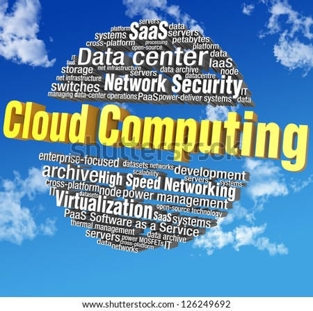 Cloud computing IT technical word tags in blue sky words are on clipping path - stock photo