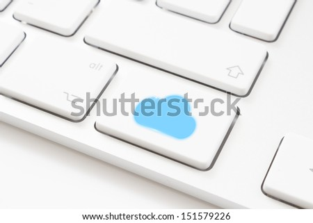 Cloud computing key on a white keyboard - stock photo