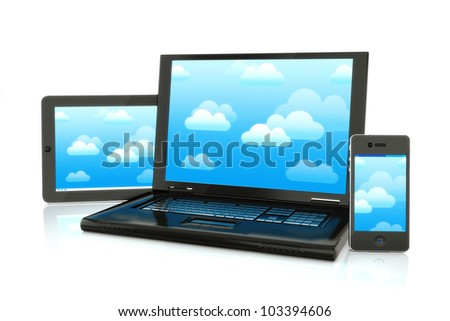 Cloud computing, laptop,smartphone and pad electronics