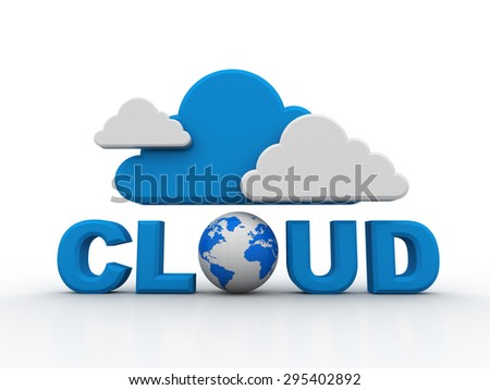 Cloud computing, laptops - stock photo