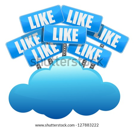 cloud computing like Social media networking concept illustration design over white - stock photo
