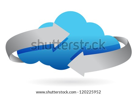cloud computing on the move concept illustration design