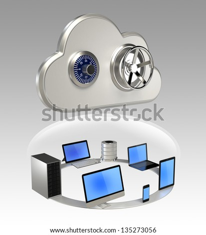 Cloud computing security concept - stock photo