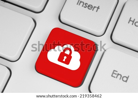 Cloud computing security concept on red keyboard button close-up - stock photo