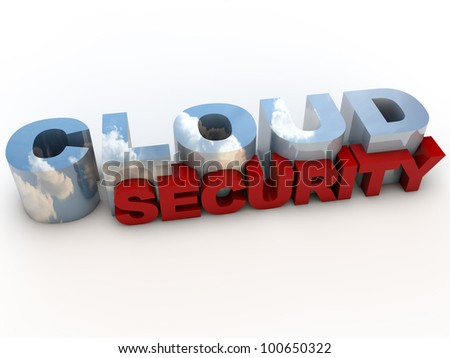 Cloud Computing Security Service over white Background - stock photo