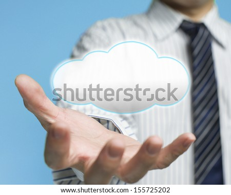 Cloud computing service concept a palm opening businessman with cloud - stock photo
