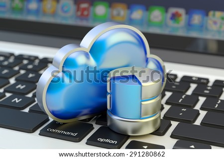 Cloud computing service, remote data storage and network technology concept, focus on computer data symbol on laptop keyboard background - stock photo