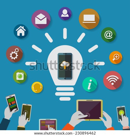 Cloud computing storage and applications on a mobile phone  with a set of icons.Idea. Lighbulb. - stock photo