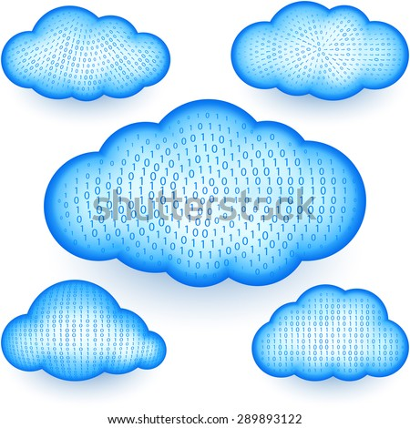 Cloud computing storages with a digital binary data - stock photo