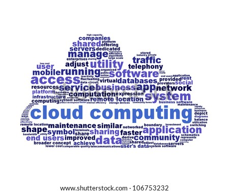 Cloud computing symbol isolated on white background. Modern computer application symbol - stock photo