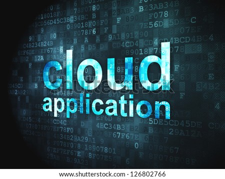 Cloud computing technology, networking concept: pixelated words Cloud Application on digital background, 3d render