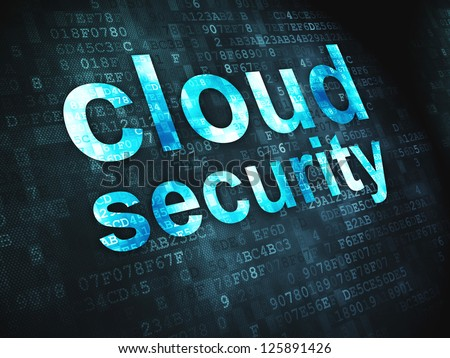 Cloud computing technology, networking concept: pixelated words Cloud Security on digital background, 3d render
