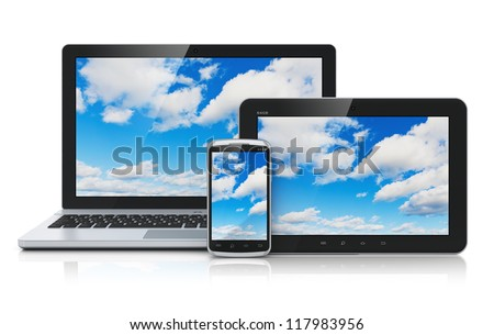 Cloud computing technology service concept: business laptop or notebook, tablet PC computer and black glossy touchscreen smartphone with blue sky and clouds on screen isolated on white background - stock photo