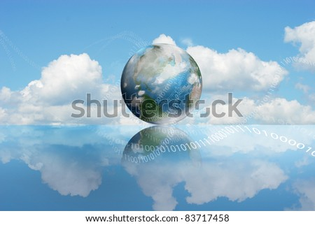 Cloud Computing technology with an cloudy earth and digits - stock photo